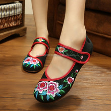 Hot Sale Women's Shoes Old Peking Flower Embroidery Flat Heel Soft Sole Casual Cloth Walking Shoes zapatos mujer Footwear