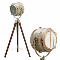 LAMP STAND WOODEN TRIPOD CORNER WOOD STAND AND NICKLE FINISH LIGHT MODERN LIGHTING
