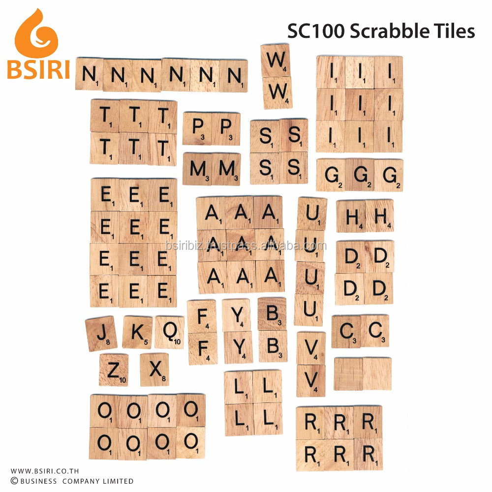 wooden scrabble pieces 100 tiles