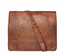 Real goat hide leather bag/men's cross body bag for office/laptop carry bag-Indian handmade sling bag wholesale 2016