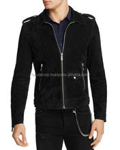 Men Genuine Black Suede Leather Jacket Biker Motorcycle Custom FC-8044