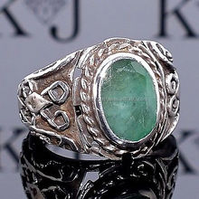 Silver Ring Emerald Men Sterling 925 Mens Jewelry Zamrud Smaragd handcrafted