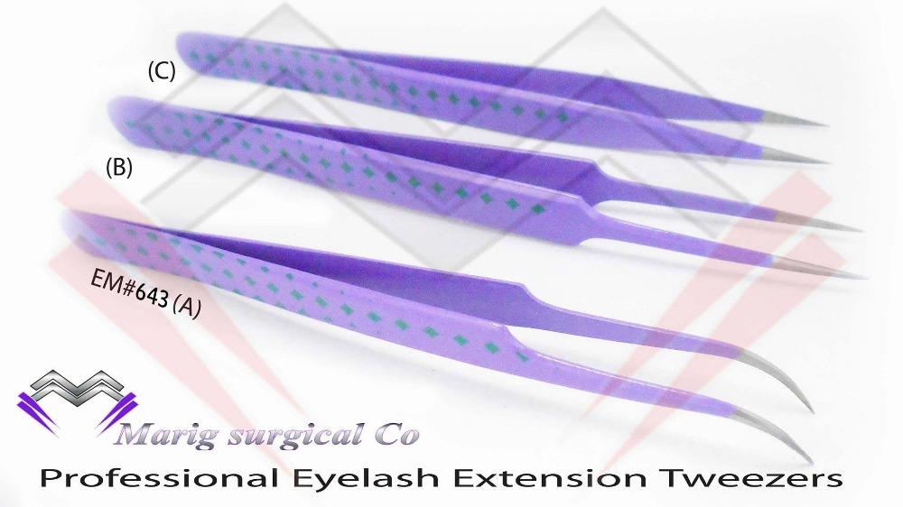 High Quality Personalized Eyelash Extension Tweezers / Makeup Colored Tweezers