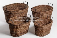 Set of 4 Oversized Oval Storage Baskets with metal handles