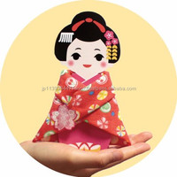 Unique and Easy to use cherry blossom fabric Hand towel with Maiko shaped package made in Japan