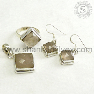 Classical 925 Sterling Silver Rose Quartz Jewelry Set Exporter