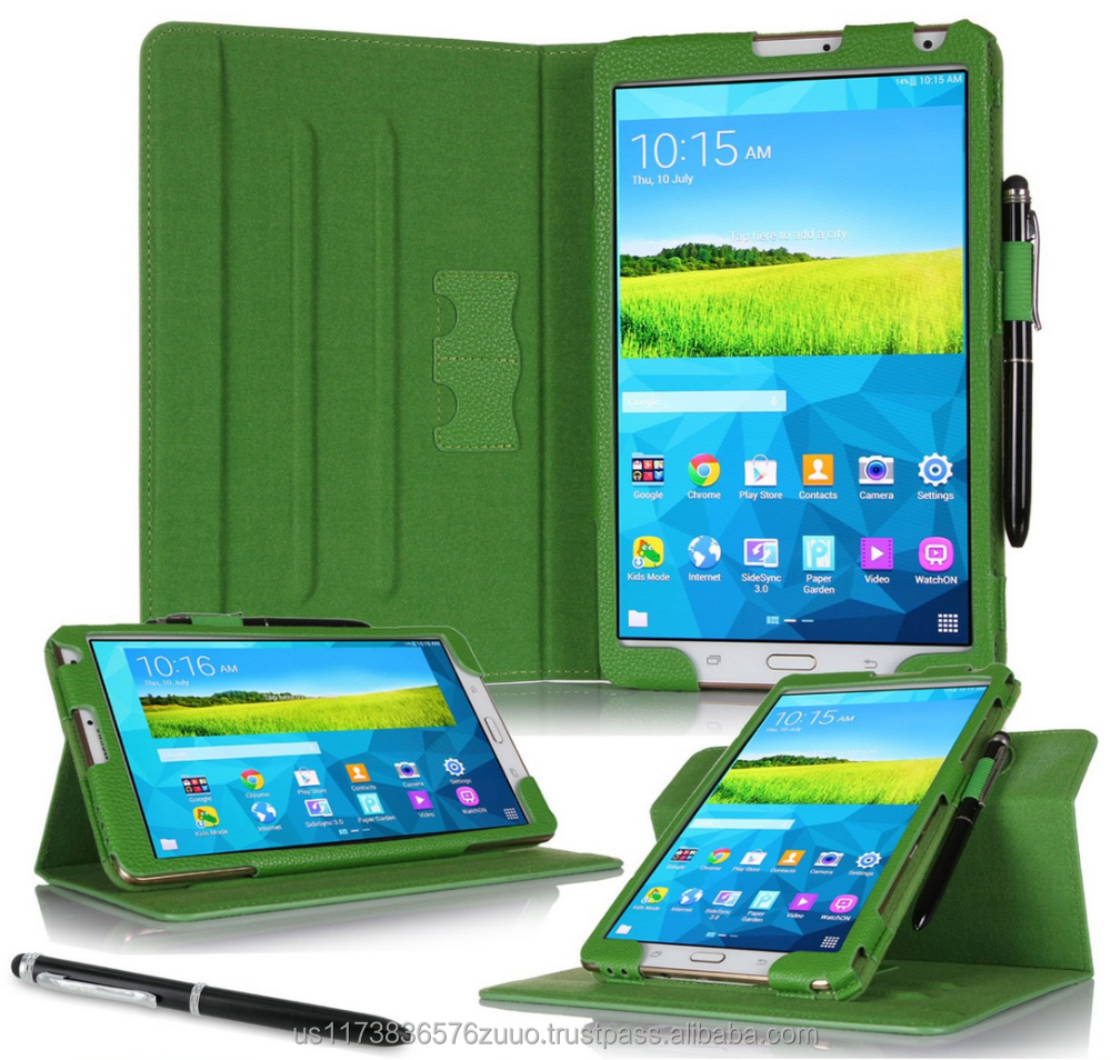 Dual View Slim Fit Premium PU Leather Folio case cover, detach inner sleeve for Galaxy Tab S 8.4 roocase (Green)