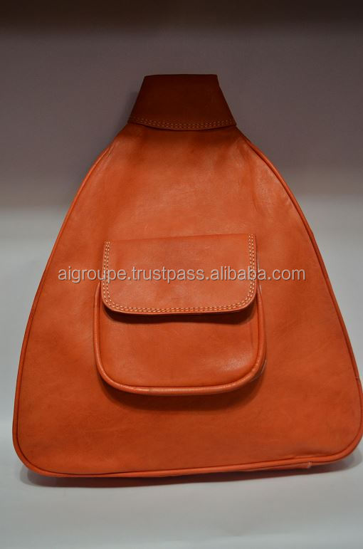 Genuine leather backpack, High quality leather bag with exterior pocket