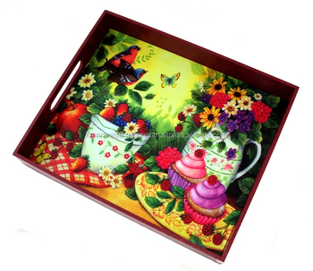 WHOLESALE DECORATIVE WOODEN FOOD SERVING TRAY FOR WEDDING, PARTY, HOTEL, HOME DECORATION