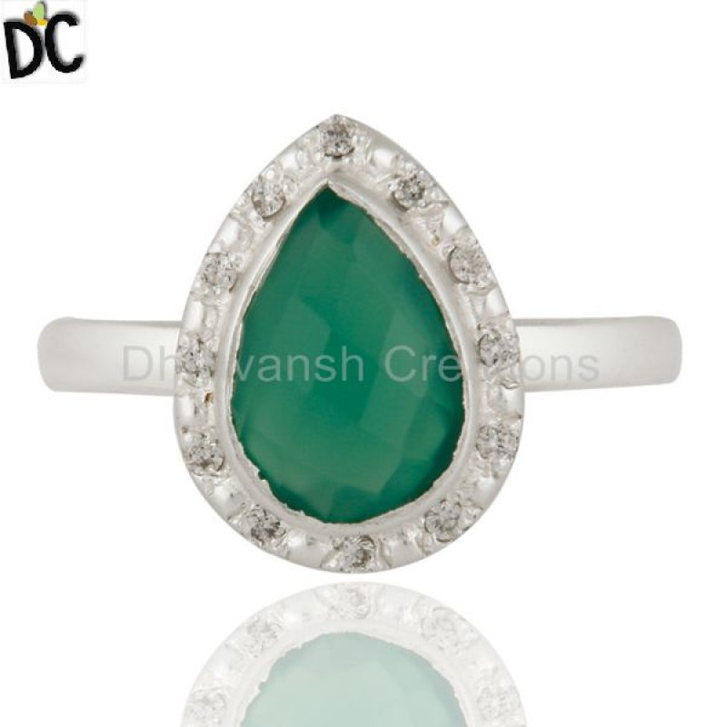 White Topaz And Natural Green Onyx Gemstone Ring 925 Sterling Fine Silver Rings Jewelry Manufacturers