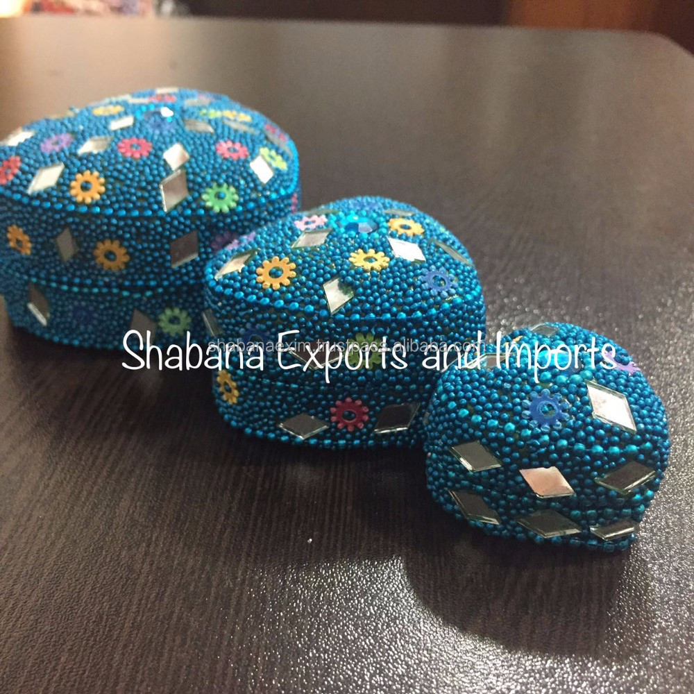 Mirror work Trinket box beaded jewelry earring box Pill box