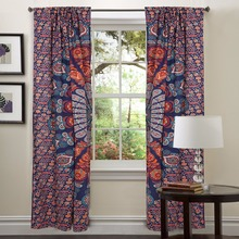 Beautiful Ready Made Living Room Treatment Bohemian Set Curtain, Indian Mandala Curtains, Mandala Tapestry Window Curtain