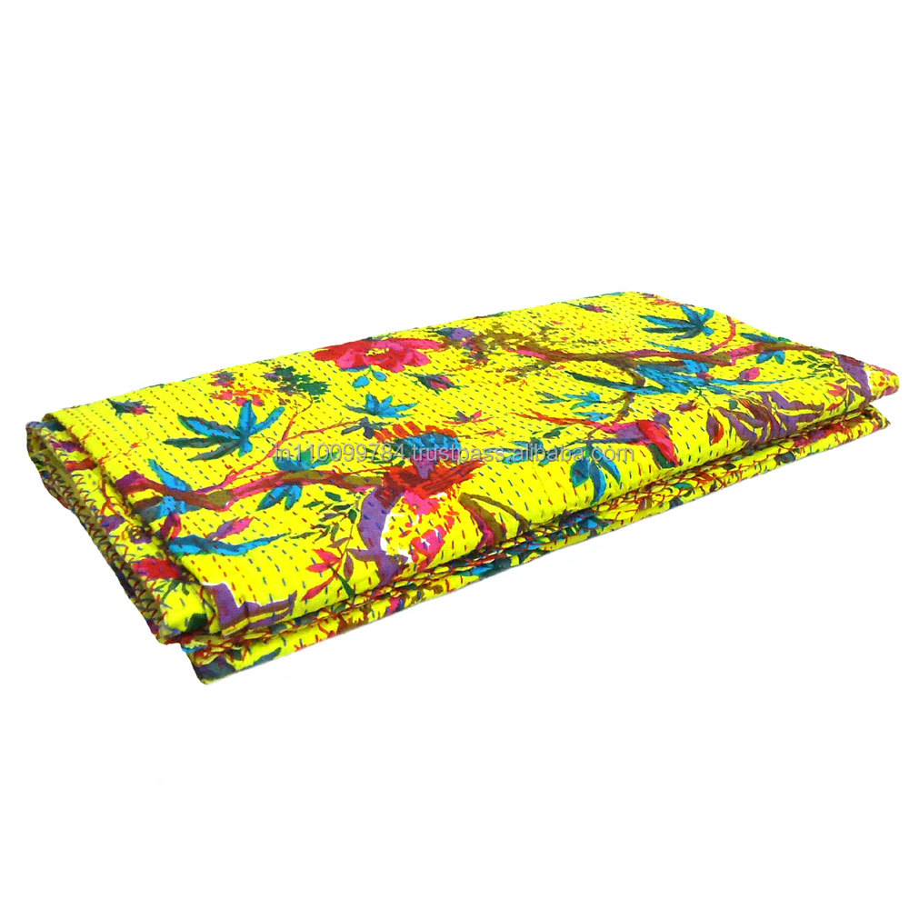 Kantha Quilt Bird of Paradise in Vivid Yellow