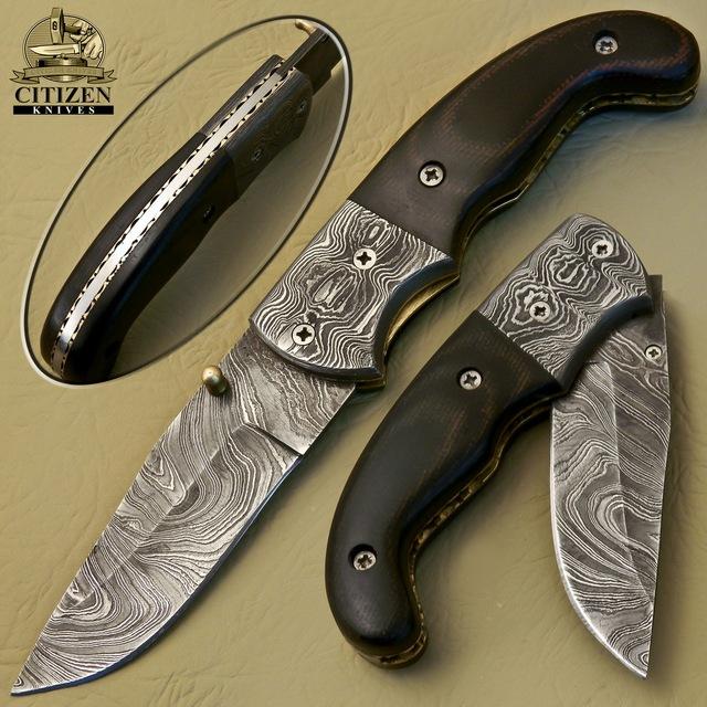 CITIZEN KNIVES, BEAUTIFUL CUSTOM HAND MADE DAMASCUS STEEL FOLDING KNIFE