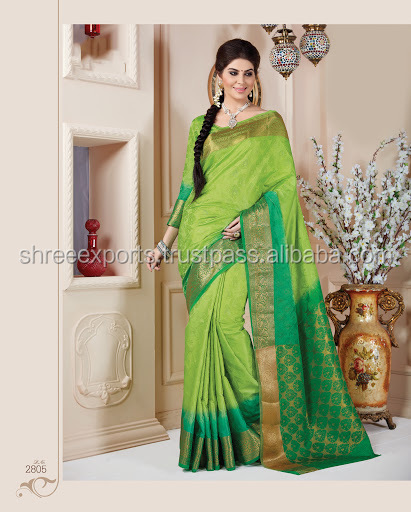 Kanchipuram Sea Green Tussar Silk Saree