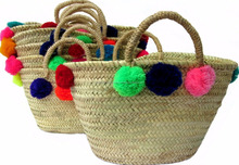 Lovely Hand Woven Straw Pompom Tote Bags