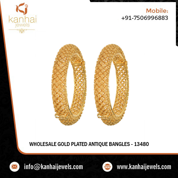 Gold Plated Antique Classic Bangles Exporters - 13480
