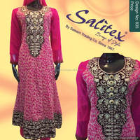 0635- Salitex Chiffon 3 piece suit fancy ladies suits a line frocks designs