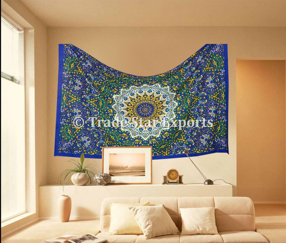 Wall Hangings Tapestry Wholesale Indian Cotton Bed Cover Throw Mandala Star Tapestry