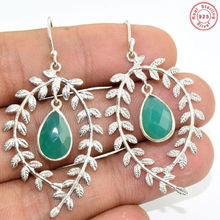 Stunning 925 Sterling Silver Green Onyx Beautiful Design Earring Jewelry S 2""