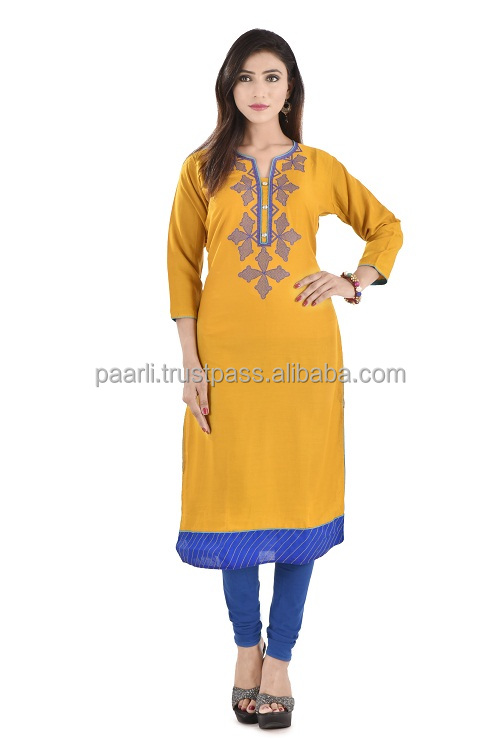 latest designer rayon embroidery kurti