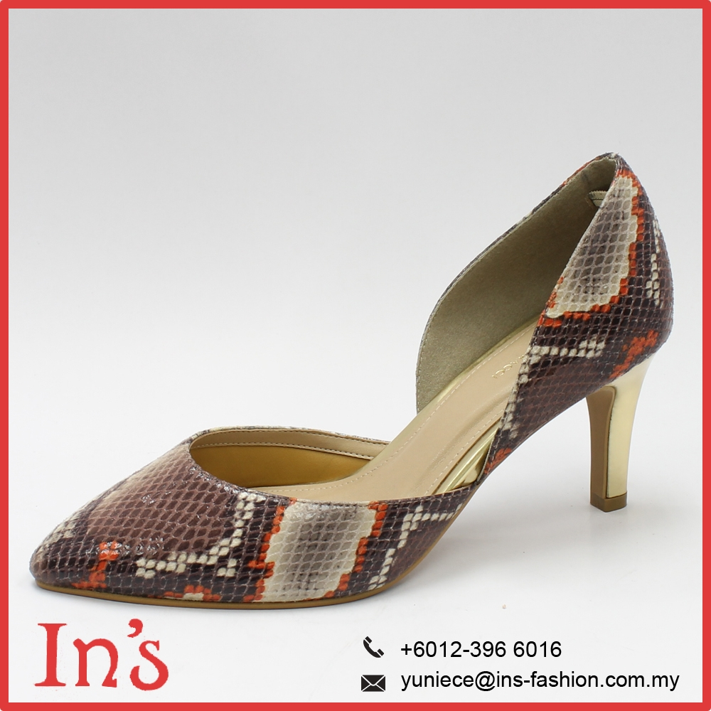 Malaysia Printed Ladies High Heels Shoes for Wholesale