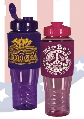 USA Made 28 oz Eco Poly-Brite Water Bottle With Neoprene Sleeve - BPA-free, features neoprene sleeve and comes with your logo