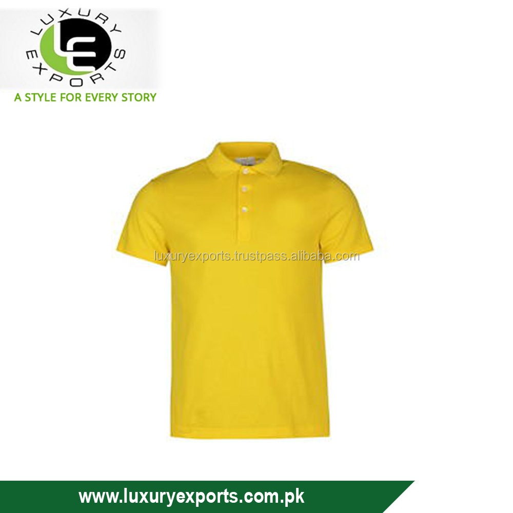 oem short sleeve 100%cotton polo neck button blank yellow men lightweight cotton polo shirts