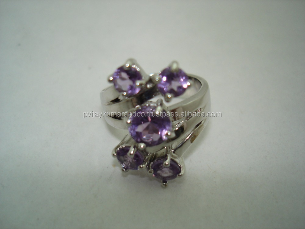 sterling silver 5 mm &7mm natural amethyst ring