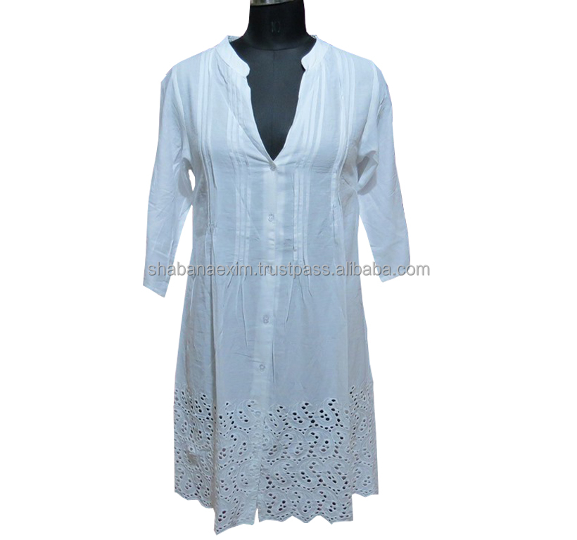White tops loose shoulder off long shirt dress for women chikan embroidery tops