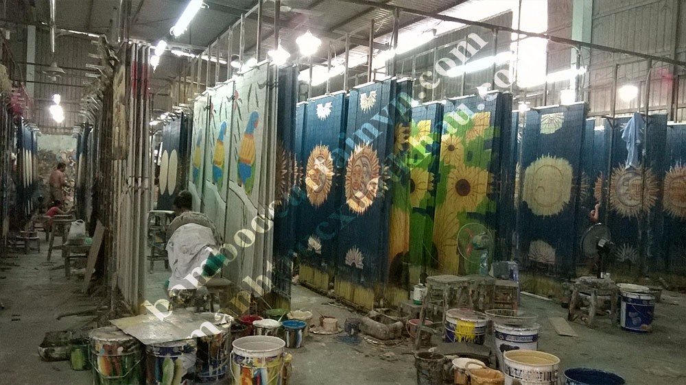 High quality with very competitive price painted bamboo curtain sun and moon