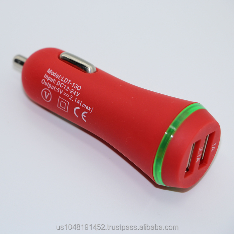 New design rubber oil5V 2.1A double usb car charger 3.1A output for iPhone 6