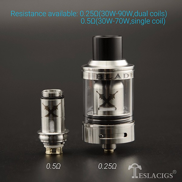 The Tesla Blade 24 tank has 2.5ML dual coils and 3.0ML single coil for your perfect vaping experience.