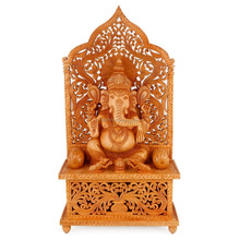 "22"" Shrine Ganesha Wooden Statue Hindu God Religious Elephant Jali Ganesh Figure Art Decor"