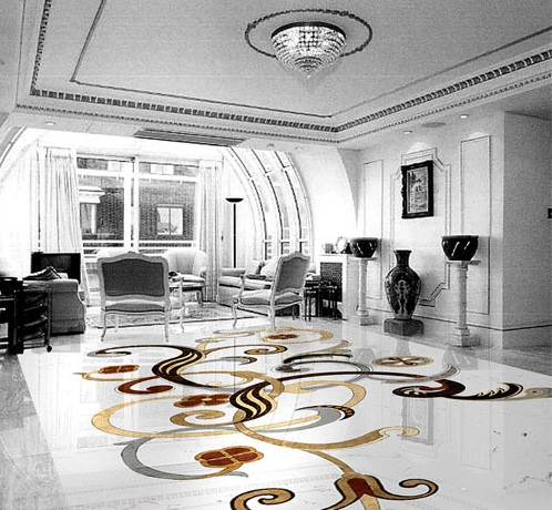 marble inlay floor pattern for lobby