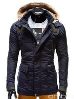 OMBRE Fashionable Winter Quilted Navy Blue Coat Jacket Overcoat with hood wholesale men clothes italian korean style