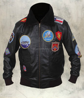 Top Gun Mens A2 Jet Fighter Bomber Navy Air Force Pilot Leather Jacket in Black