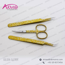 Golden Glitter High Quality Stainless Steel Eyelash Extension Tweezers & Scissors/ Straight/Curved/Pro-Straight/Angled Tweezers