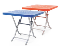 80x80 Gas Injection Square Plastic Table with Metal Folding Leg