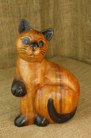 "Solid Wood Wooden Carved Kitty Cat Kitten Figurine Statue Brown Black 9"" BF For Sale"