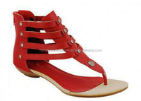 Ladies flat leather sandals