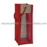 wine tote bag wholesale, special design jute wine bag/2016 Heavy Duty jute single bottle bag with pvc window