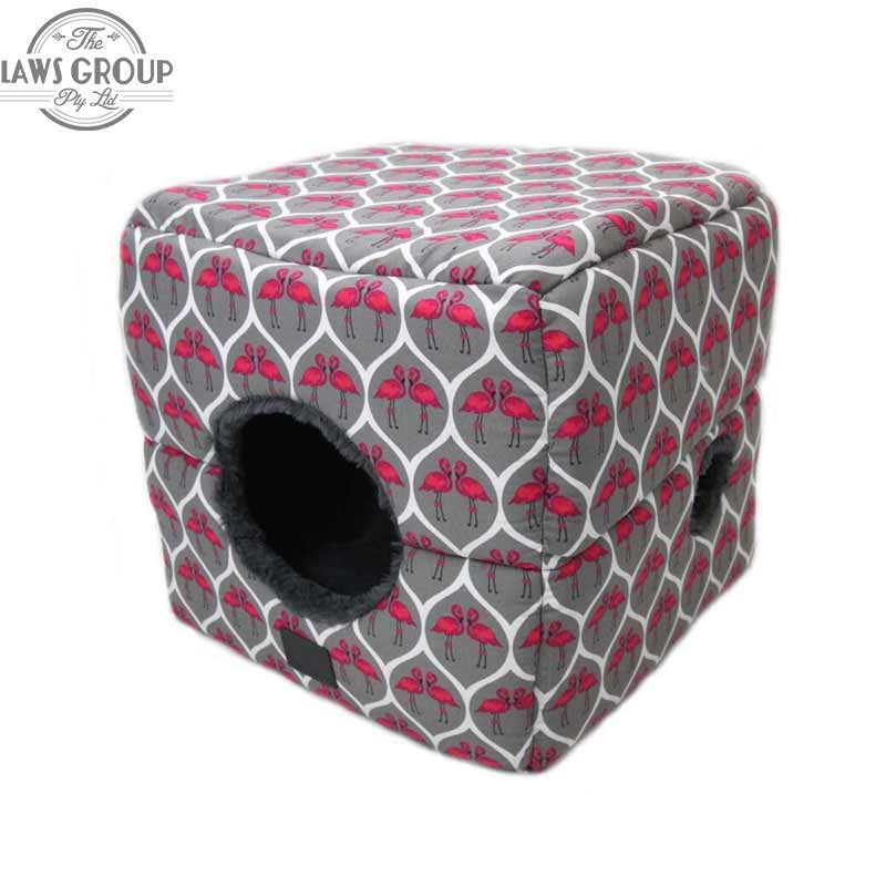 T&S Pet Products Quirky Flamingo Cat Bed Square