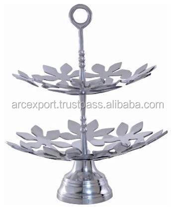 aluminium cast flower design antiuqe metal cake stand