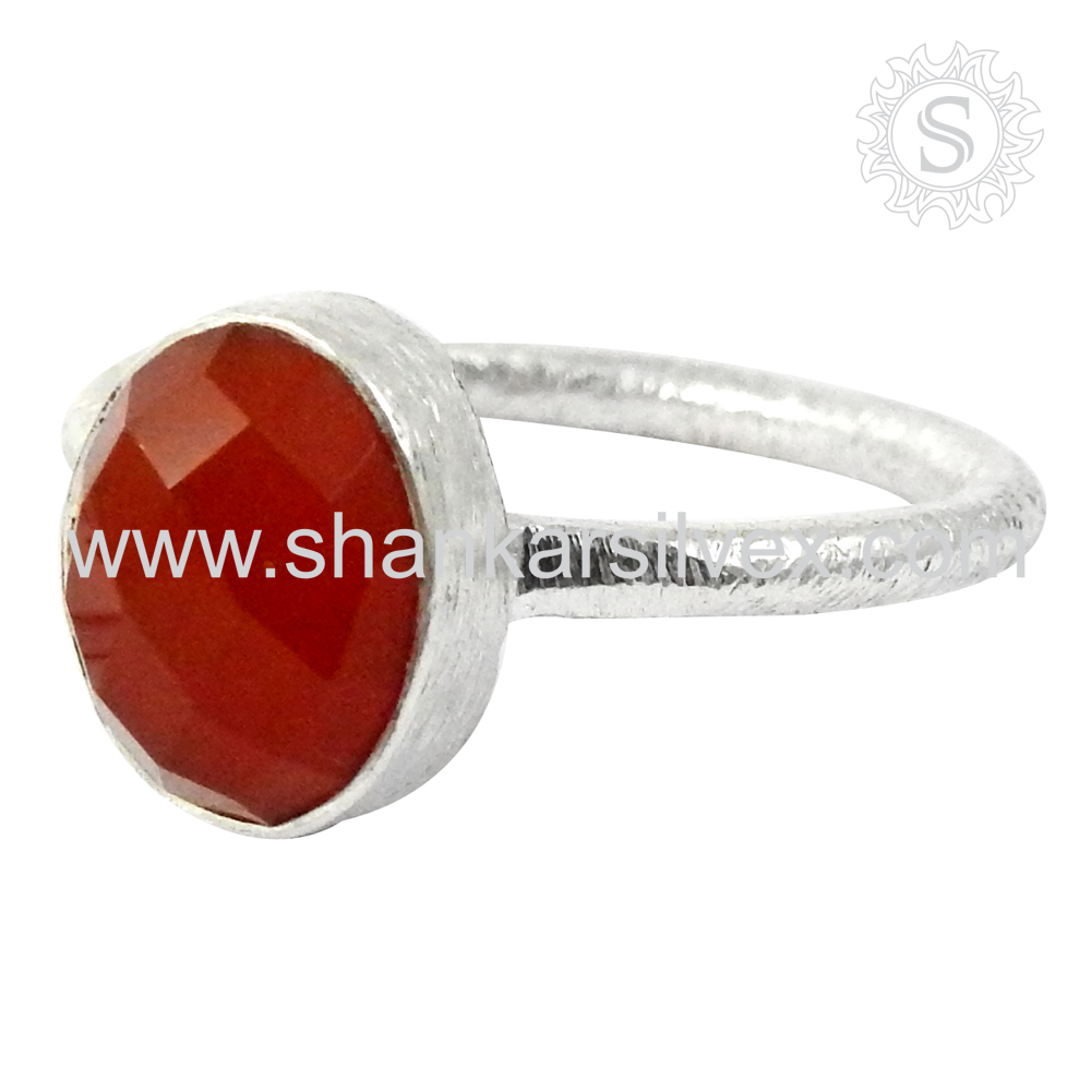 Women Fashion Red Carnelian Ring Handmade Jewelry 925 Silver Jewelry Sterling Ring