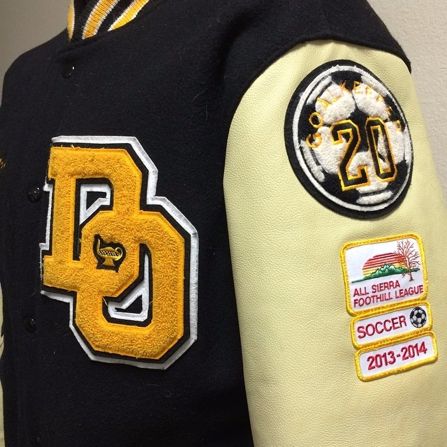 Customize your own jacket with chenille patches / Chenille patch jacket with PU leather sleeves