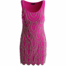 Sexy Mini Womens Fuchsia Pink Sleeveless Matte Jersey Beaded Party Cocktail Shift Dress/Evening Dress/Celebrity Party Dress/