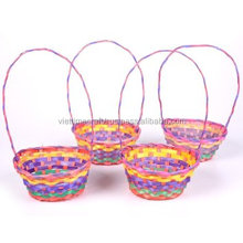 Cheap price!!! Colorful bamboo gift basket with handle for Easter/Christmas gift basket