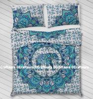 New Elephant Indian Mandala Queen Size 100 % Cotton Fabric Bed Quilt Duvet Doona Cover Blanket Boho Duvet Cover Set