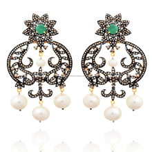 Elegant Design 14k Yellow Gold Emerald & Pearl 925 Sterling Silver Pave Diamond Gemstone Earring Wholesale Jewelry